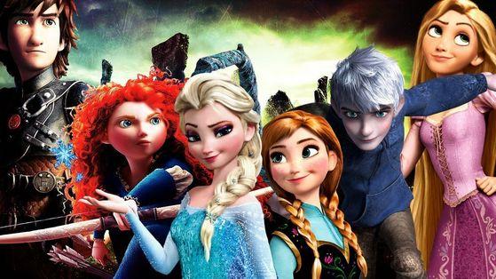 Jack, Elsa, Anna, Merida, Rapunzel and Hiccup