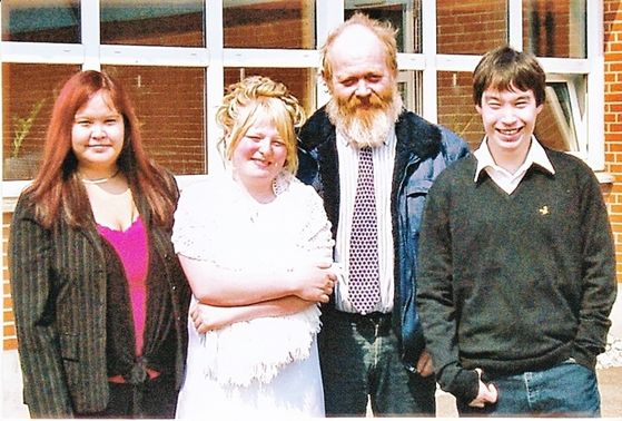Johanne, Joan, their Father Mogens and J.J. in Spring 2005.