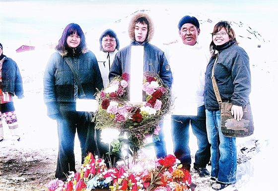 In Greenland in 2008, for their Mother's funeral.