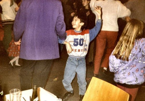 Busting some moves at a school dance.