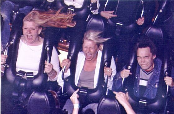 """Trying the Demon @ Tivoli, Copenhagen 2005. J.J. recalls """"I was absolutely shi**ing myself!! But when I saw the picture after, I just HAD to buy it!"""""""