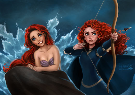 Merida: If anyone else complains about toi Ariel I'm gonna shoot them!, Ariel: And if anyone complains about toi Merida I'll summon a tsunami!