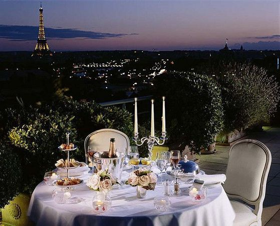 The Couple Sharing A Romantic Dinner On Terrace In Paris