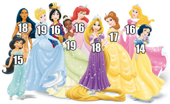 This doesn't include Merida, Anna and Elsa but I did some other research on them and used più than one website for all of them