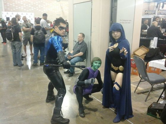 Yes, I know Teen Titans isn't an anime, but here's Raven, Beast Boy, and Nightwing (I think)
