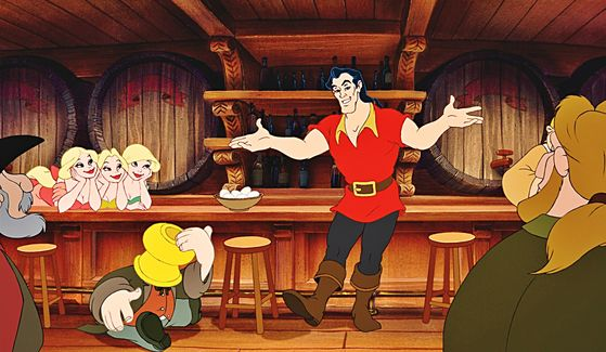 Gaston impressing the costumers in the tavern, the swooning Bimbettes, a spittoon-topped Le Fou and, most important of all, himself.