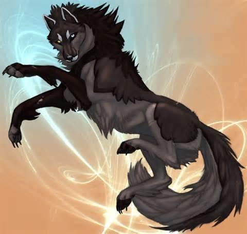 Ari in her serigala, wolf demon form