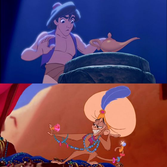 What an iconic scene from Aladdin.I Cinta that shot of Abu, he's so fab. I'm jealous of his style.
