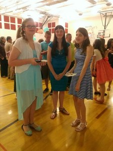 Me and my Друзья at Confirmation (I'm the one in the striped dress)