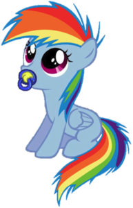 The age-regressed Rainbow that was dropped off by Twi at Canterlot Castle-with everything she would need.