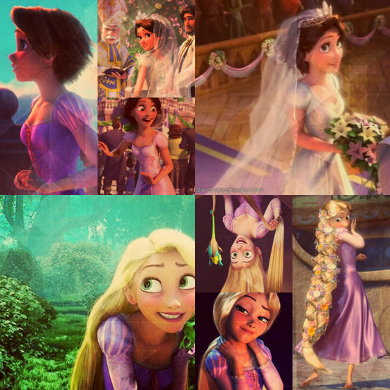 Best shot of Rapunzel- Bottom middle, smirking at Flynn