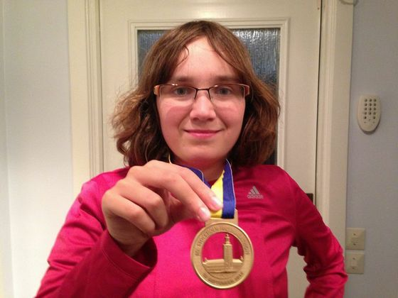 Me after finishing my first half marathon, Stockholm Half Marathon