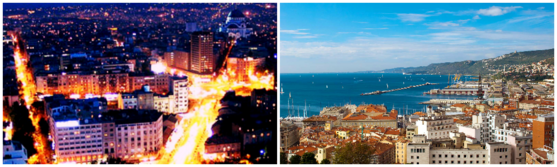 On the left Belgrade, my hometown; on the right Trieste, where I currently live.