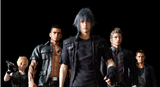 From left to right: Prompto, Gladiolus, Noctis, Ignis, and Cor.