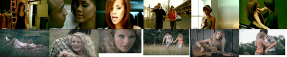 The screenshots for the Unfaithful and Tim McGraw música videos from 2006