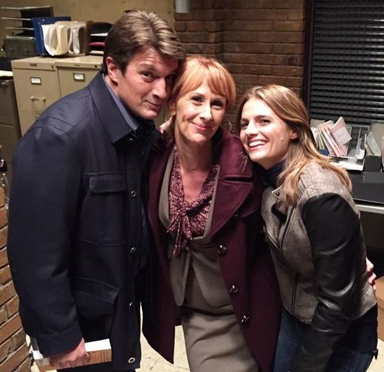 Nathan Fillion, Wendy Braun, Stana Katic on the set of 城