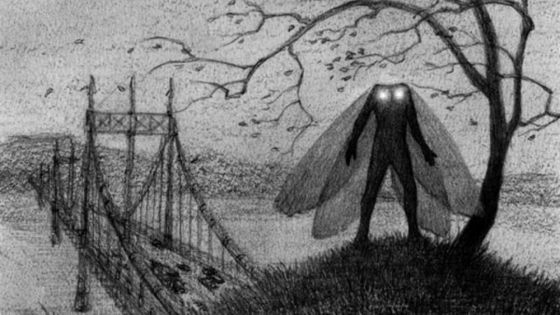 3. Mothman- This creature is identifiable によって its trademark glowing eyes, which resemble burning coals and bicycle lights. It is also distinguishable によって its high pitch screech, which in some cases, has 与えられた eyewitnesses headaches and even made them sick.
