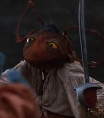 One of the many pirate reappearances we get in this film is Jacques Roach, this time without his Muppet Treasure Island attire. Instead, his pirate attire he once wore in Muppet Treasure Island is replaced Von a gulag outfit