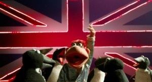 Though the UK logo is not featured in the actual film, Scooter's performance of Moves Like Jagger is.