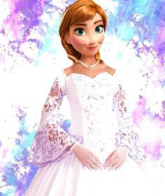 Anna stood سے طرف کی the side of the تخت of Arendelle, wearing a long white dress with فیتا, فیتے sleeves that resembled a wedding گاؤن, گاؤن, gown and a ہار of pearls