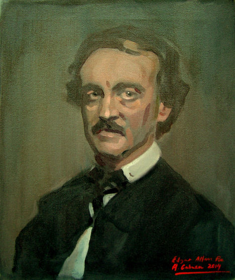 Edgar Allan Poe sa pamamagitan ng Alejandro Cabeza / Oil / 46 x 38 cm 2014