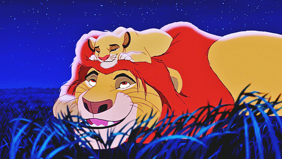 Mufasa, spending some great quality time with his young son, Simba.