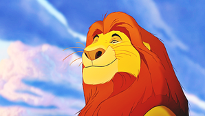 The regal Mufasa, дана life by the booming voice of James Earl Jones.