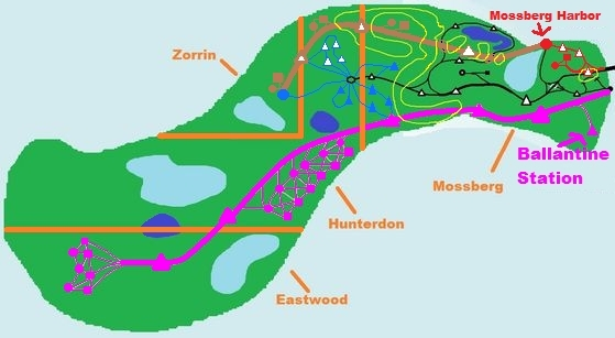 The map of the Island Of Errol, mostrare the finished Hunterdon Central line.