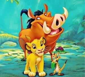 Simba, Pumbaa na Timoni katika swahili
