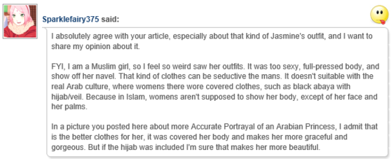 A Real Muslim Girl's Opinion (Whose Culture jazmín is Supposed to Represent)