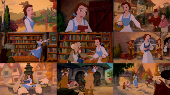 """Now, it's no wonder that her name means ""beauty"" Her looks have got no parallel But behind that fair facade I'm afraid she's rather odd Very different from the rest of us She's nothing like the rest of us Yes, different from the rest of us is Belle"""