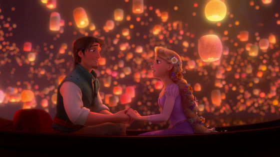 The scene of Rapunzel and Flynn Rider sing together.