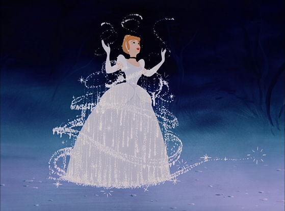 The scene of Cinderella's dress transformation.