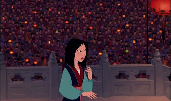 The scene of mulan after she saved China.