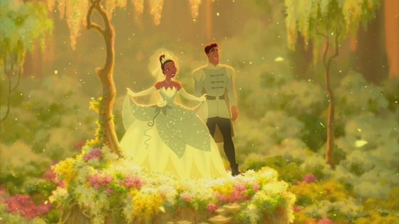 The scene of Tiana and Naveen in the wedding.