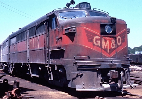 A freight train entered the yard with three diesels pulling the train. The first diesel was this one.