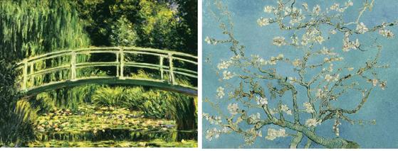 Claude Monet's Nimphee (1926) ; Vincent Van Gogh's Almond Blossom (1890)