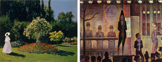 Claude Monet's Woman in a Garden (1867) & Georges Seurat's Circus Sideshow (1888)
