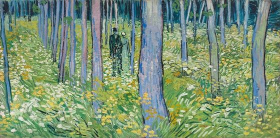 Vincent Van Gogh's Couple Walking in the Trees (1889)