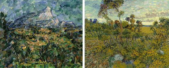 Paul Cezanne's Mont Sainte-Victoire (1902) ; Vincent VanGogh's Sunset at Montmajour (1888)