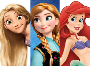 Rapunzel, anna, and ariel