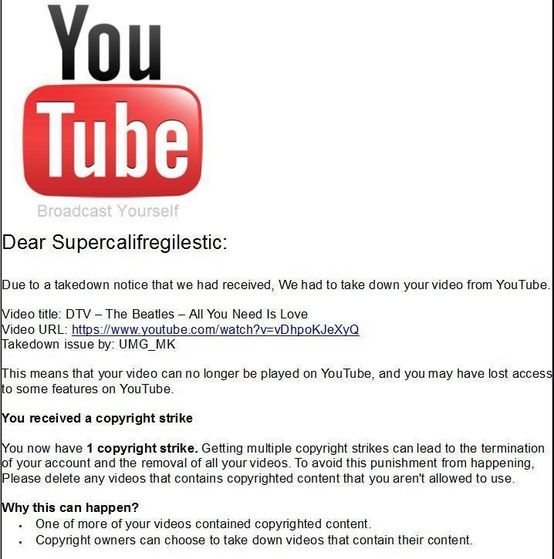 A user getting an email on Youtube that he/she has a copyright strike.