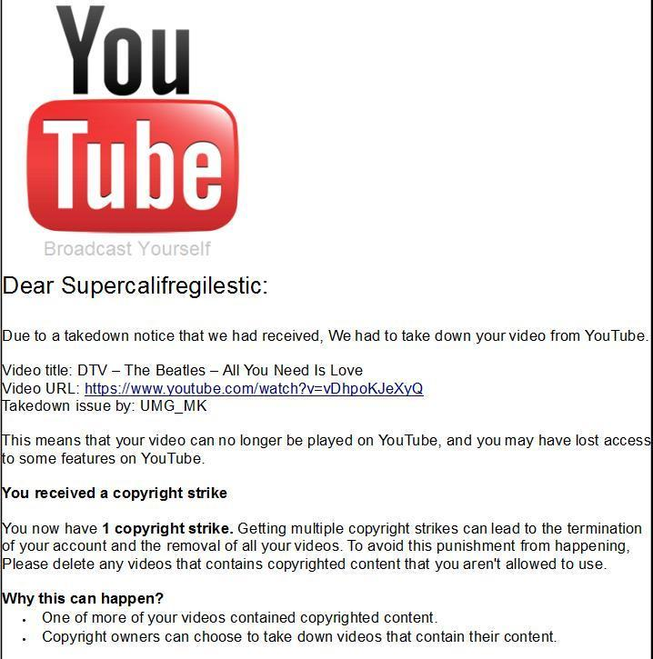 The Beatles official Youtube (and Vevo) account has been terminated