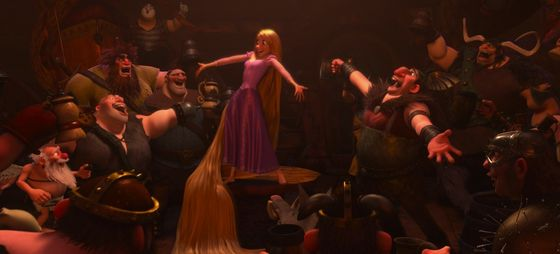 Rapunzel's inner light charming a tavern of rogues