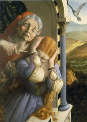 The sorceress cutting Rapunzel's hair