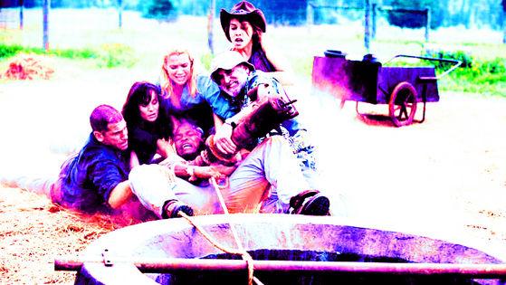 Jon Bernthal, Laurie Holden, Sarah Wayne Callies, Lauren Cohan, Jeffrey DeMunn & IronE Singleton as Shane, Andrea, Lori, Maggie, Dale & T-Dog, Cherokee Rose, 2x04