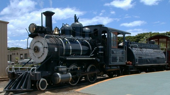 This is the engine, pulling four yellow coaches