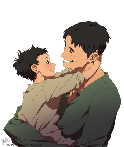 I found a cute lil pic of him when he was little with his dad