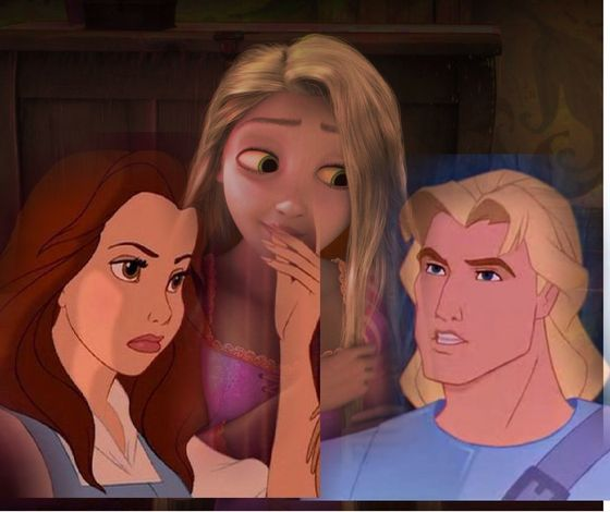 Belle and John Smith yelling at Rapunzel