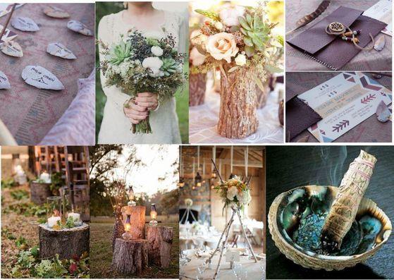 earthy decor and wedding invite